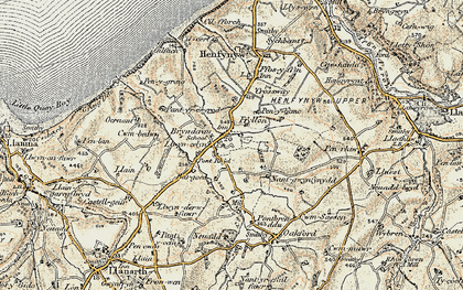 Old map of Afon Drywi in 1901-1903