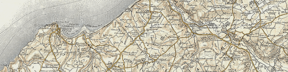 Old map of Afon Drywi in 1901-1903
