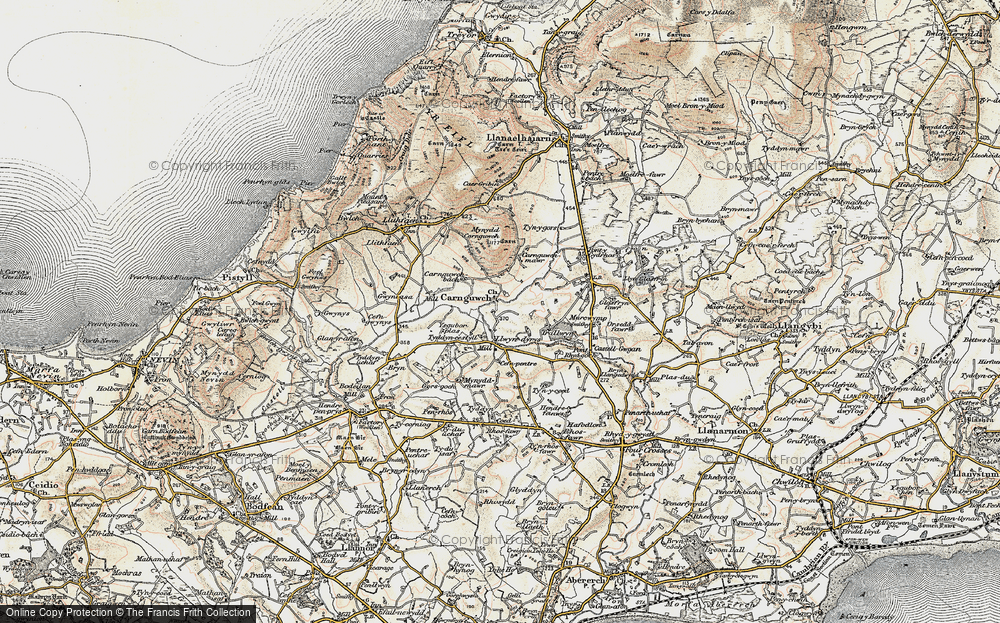 Old Map of Historic Map covering Ysgubor Plas in 1903