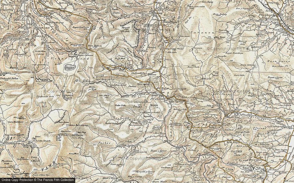 Old Map of Historic Map covering Afon Llwyd in 1902-1903