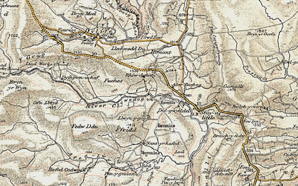 Old map of Afon Llwyd in 1902-1903