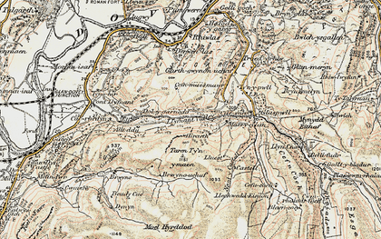Old map of Llyfnant Valley in 1902-1903