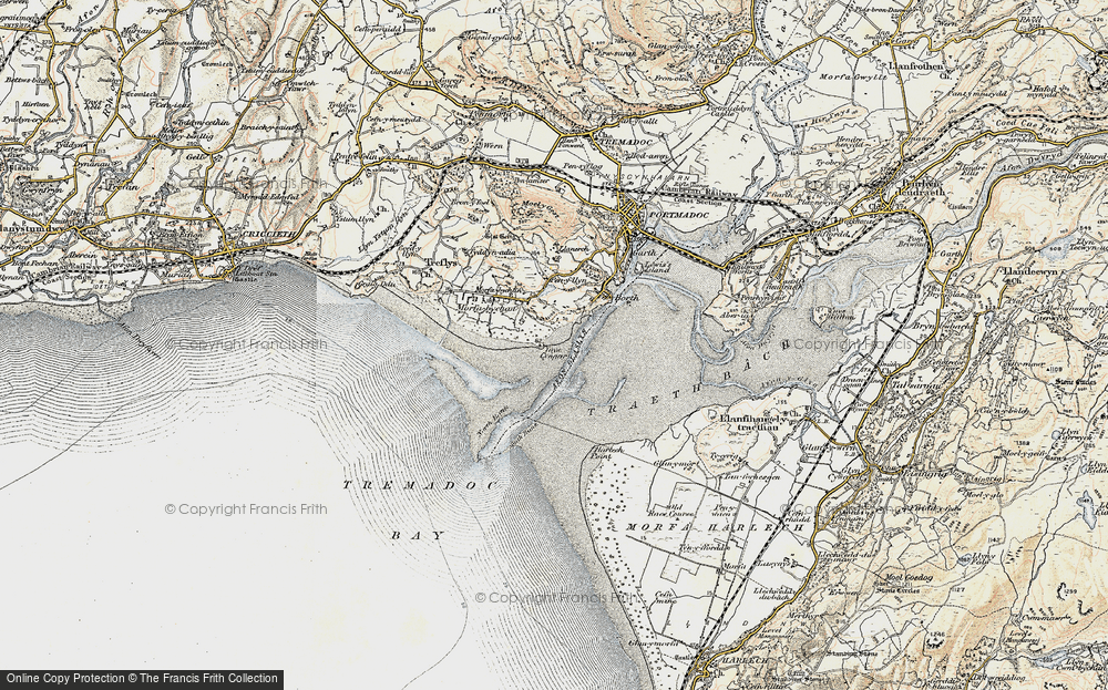 Old Map of Historic Map covering Ynys Cyngar in 1903