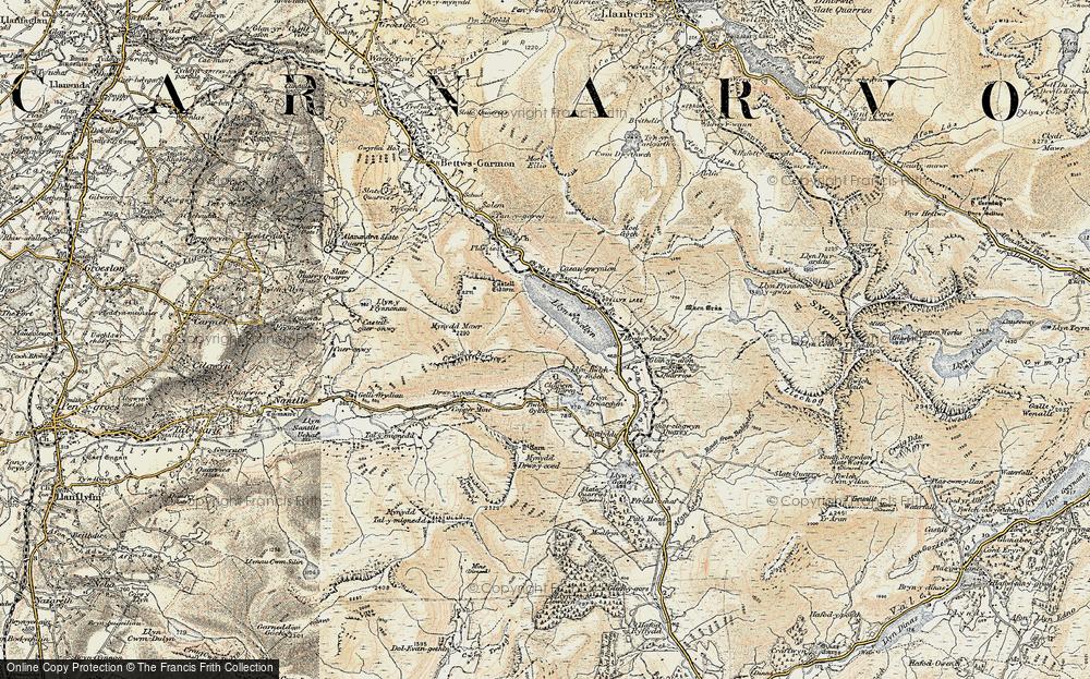 Old Map of Llyn Cwellyn, 1903-1910 in 1903-1910