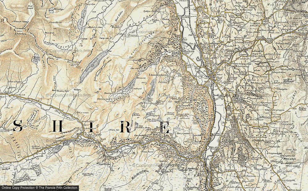 Old Map of Historic Map covering Afon Crafnant in 1902-1903