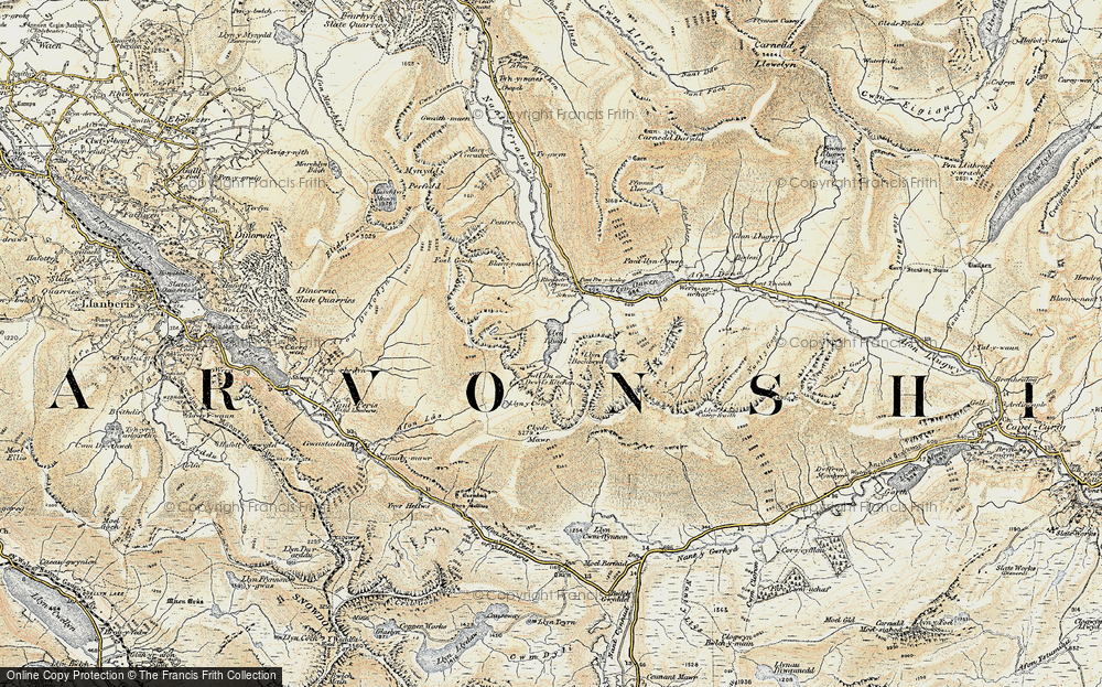 Old Map of Historic Map covering Afon Lloer in 1903-1910
