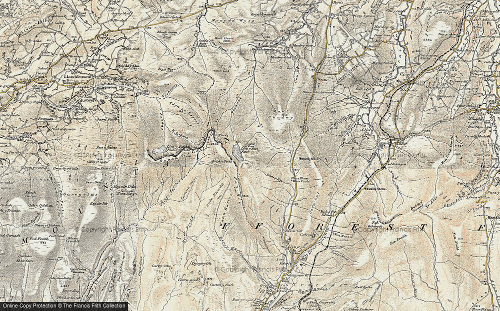 Old Map of Historic Map covering Bannau Sir Gaer in 1900-1901