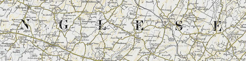 Old map of Afon Caradog in 1903-1910