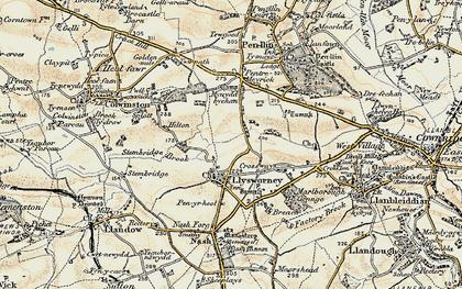 Old map of Llysworney in 1899-1900