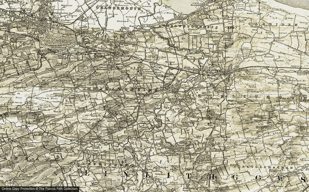 Old Map of Historic Map covering Almond in 1904-1906