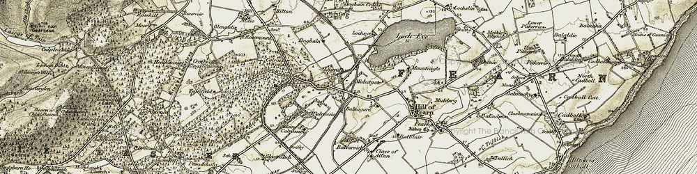 Old map of Allan in 1911-1912