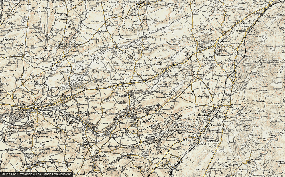 Old Map of Historic Map covering Lew Mill in 1900