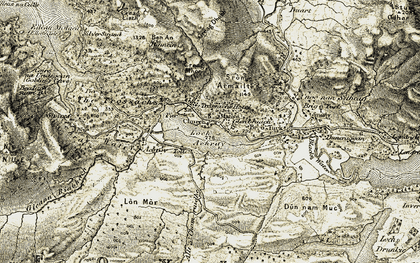 Old map of Allt a' Cham-ruidhe in 1906-1907