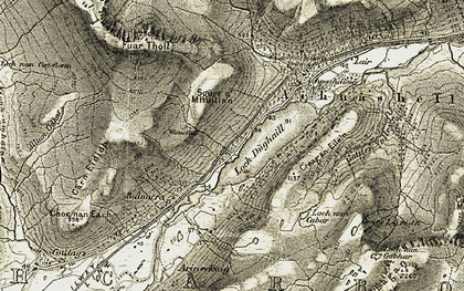 Old map of Loch Dhughaill in 1908-1909