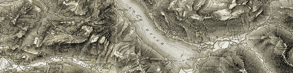 Old map of Allt Cnoc Fhionn in 1908-1909