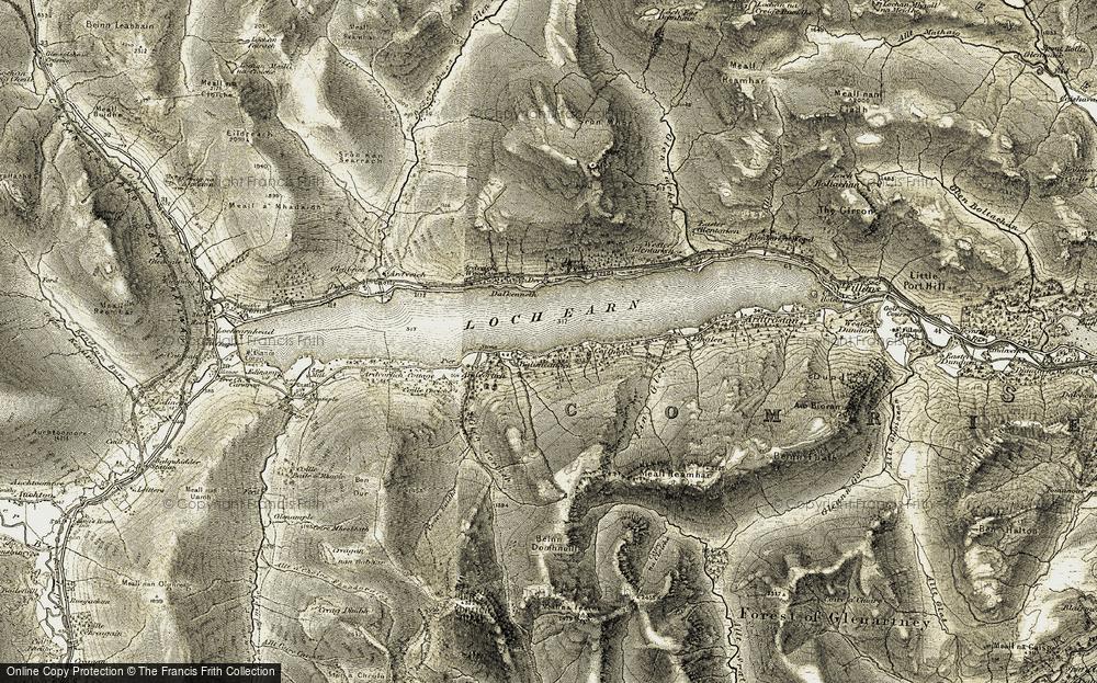 Old Map of Loch Earn, 1906-1907 in 1906-1907
