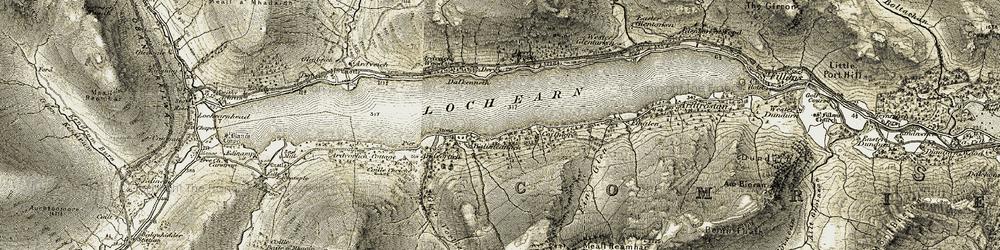 Old map of Loch Earn in 1906-1907