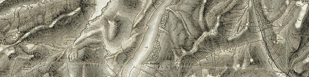 Old map of Allt Udlamain in 1906-1908