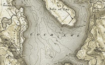 Old map of Loch Ewe in 1908-1910