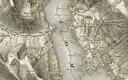 Old map of Loch Lomond in 1905-1907