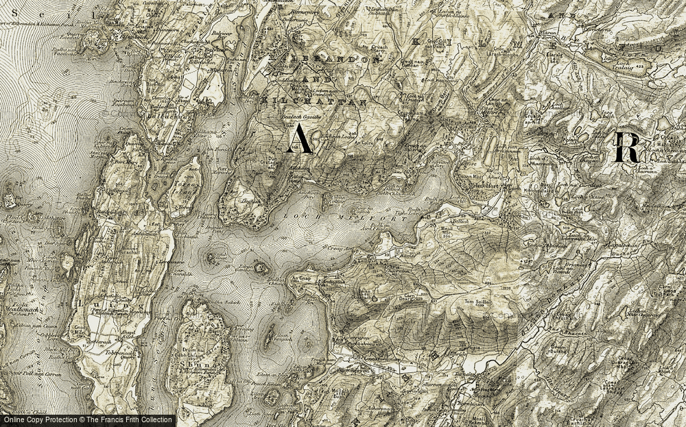 Old Map of Historic Map covering Bàgh na Dalach in 1906-1907