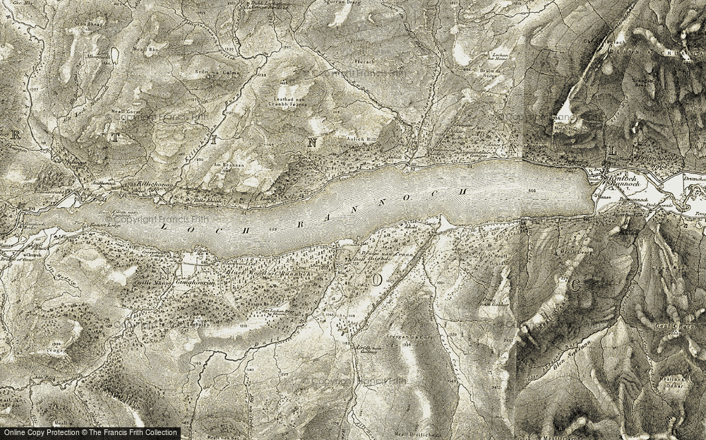 Old Map of Historic Map covering Aulich Hill in 1906-1908