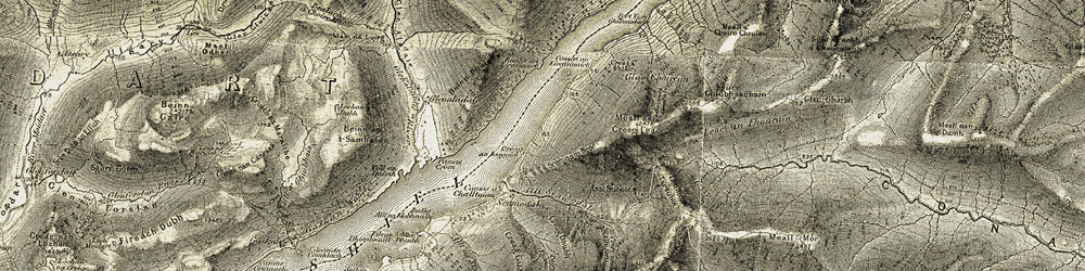 Old map of Allt Scamodale in 1906-1908