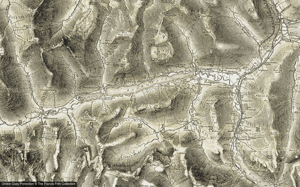 Old Map of Historic Map covering Allt Fathan Glinne in 1906-1907