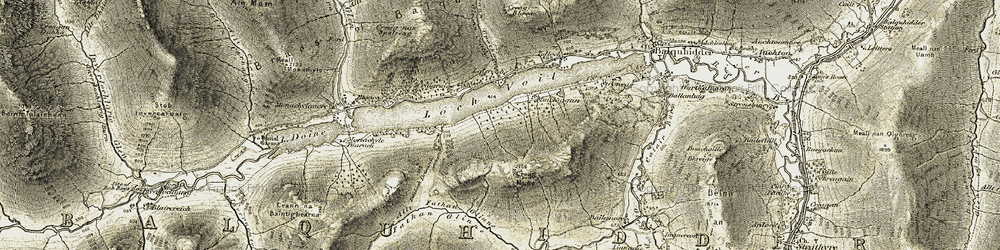 Old map of Allt Gleann Crotha in 1906-1907