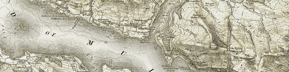 Old map of Achadh na Craoibh sgitheich in 1906-1908