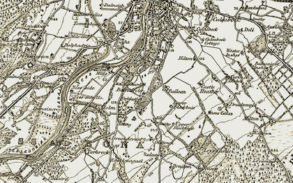 Old map of Balmore of Leys in 1908-1912
