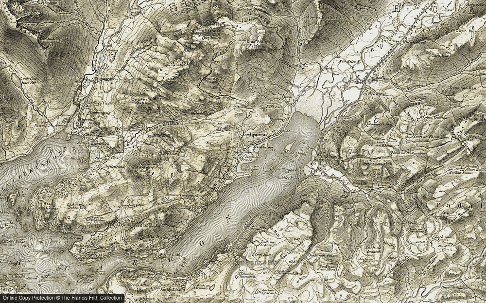 Old Map of Historic Map covering Allt nan Carnan in 1908-1909