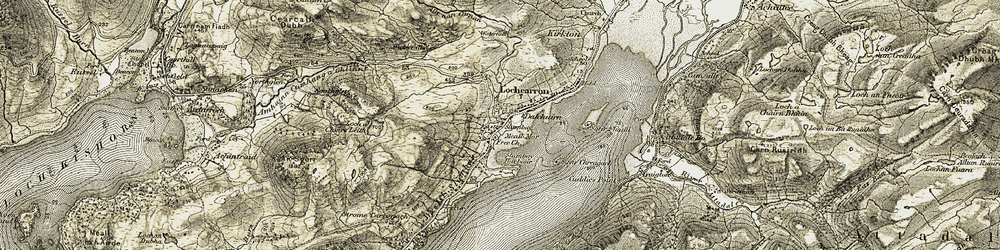 Old map of Allt nan Carnan in 1908-1909