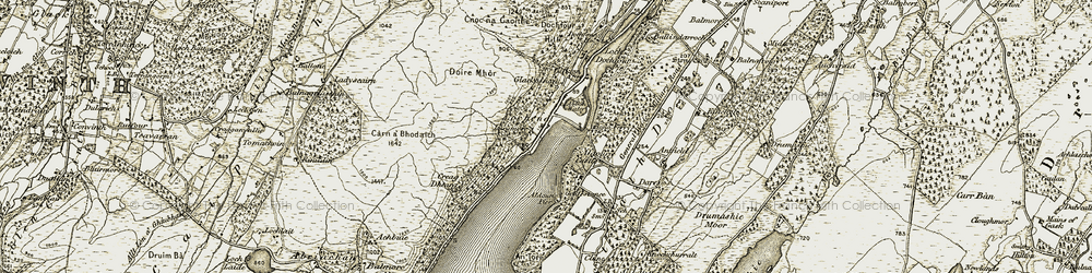 Old map of Abban Water in 1908-1912