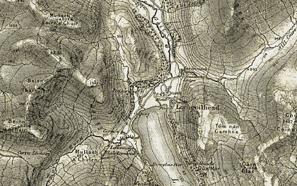 Old map of Lettermay Burn in 1905-1907