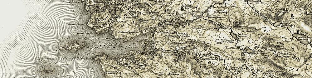 Old map of Abhainn Bad na h-Achlaise in 1910