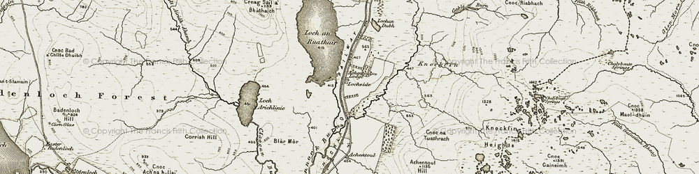 Old map of Achentoul Forest in 1910-1912