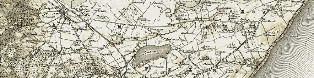 Old map of Acre Lea in 1911-1912