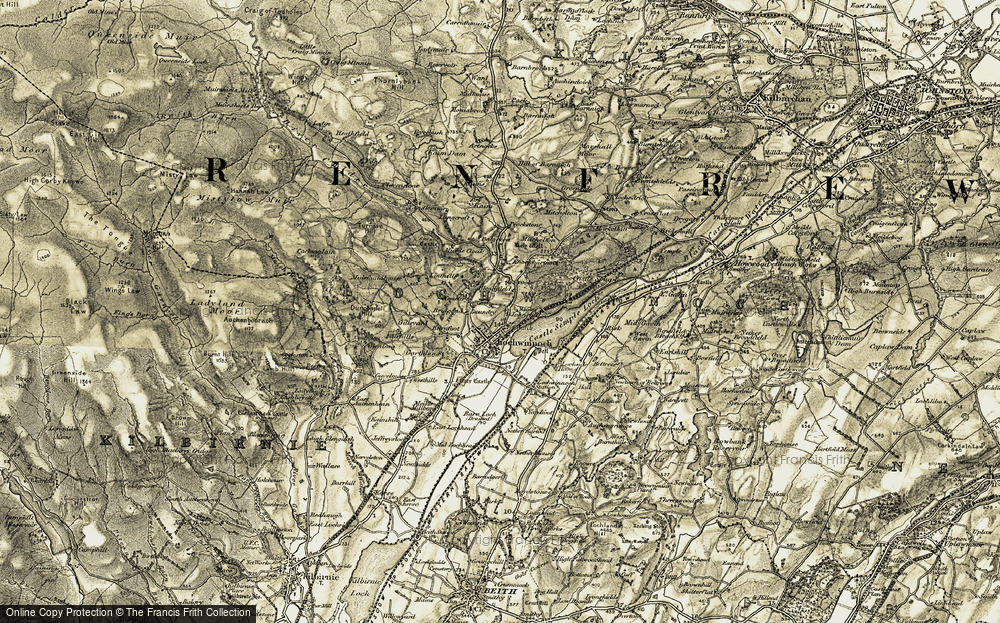 Old Map of Historic Map covering Auchengrange in 1905-1906
