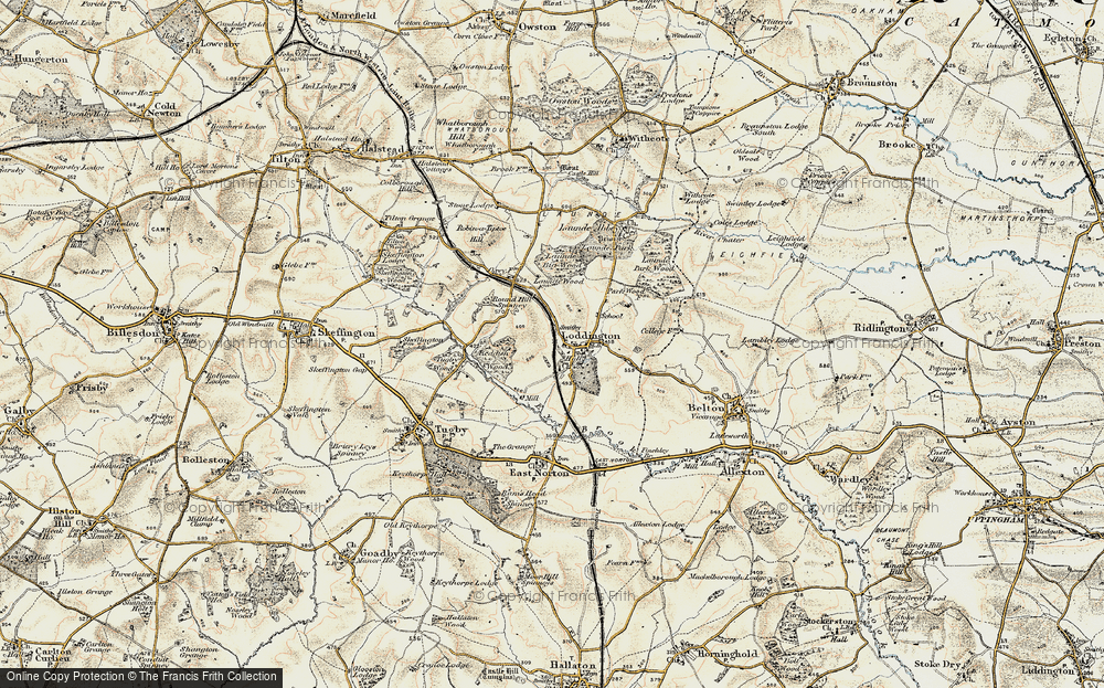 Old Map of Historic Map covering Launde Big Wood in 1901-1903
