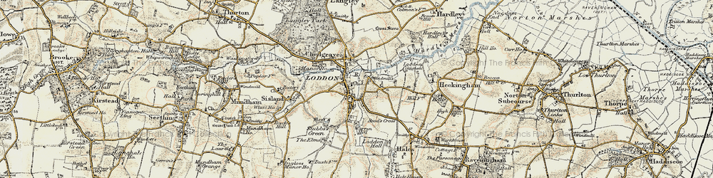 Old map of Loddon in 1901-1902