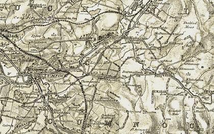 Old map of Avisyard Burn in 1904-1905