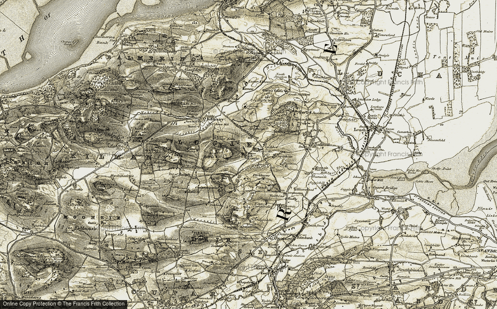 Old Map of Historic Map covering Airdit in 1906-1908