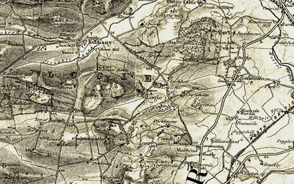 Old map of Ardlogie Ho in 1906-1908