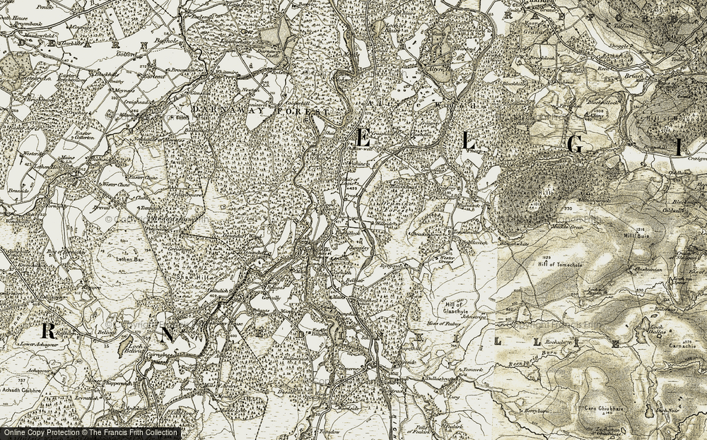 Old Map of Historic Map covering Wester Greens in 1910-1911