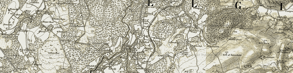 Old map of Wester Greens in 1910-1911
