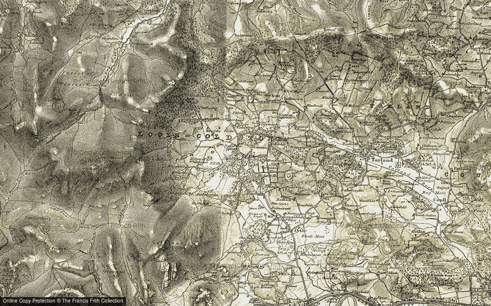 Old Map of Historic Map covering Tom a' Char in 1908-1909