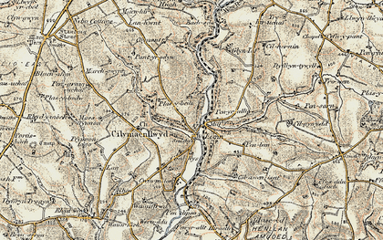 Old map of Bachsylw in 1901