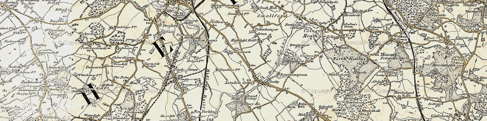 Old map of London Colney in 1897-1898