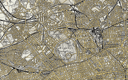 Old map of London Zoo in 1897-1909